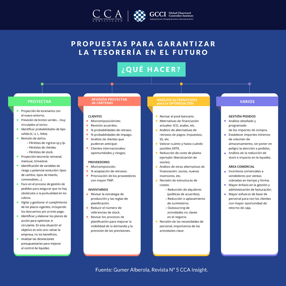 Infografía Control de Gestión: Propuestas Asegurar Tesoreria Futuro